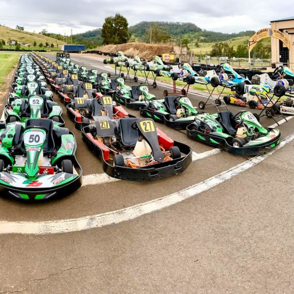 Lots of Karts lined up on the track ready to race at Picton Karting Track