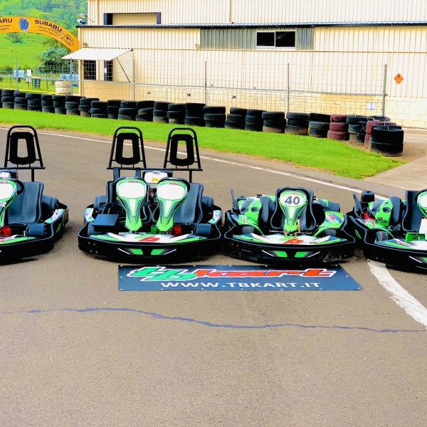 Double and single rider karts sitting on the track at Picton Karting Track