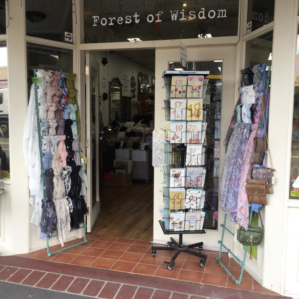 Front of shop with card rack and signage saying 'Forest of Wisdom'